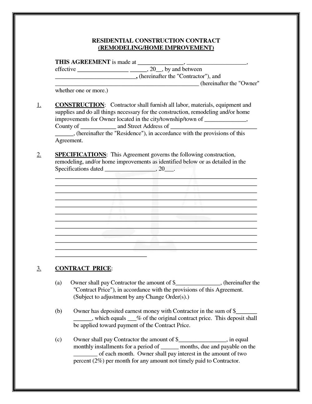 Concrete Contractor Contract Template