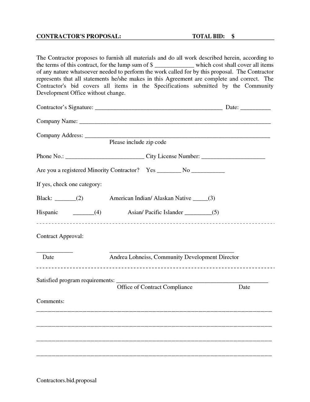 Construction Bid Proposal Template Pdf