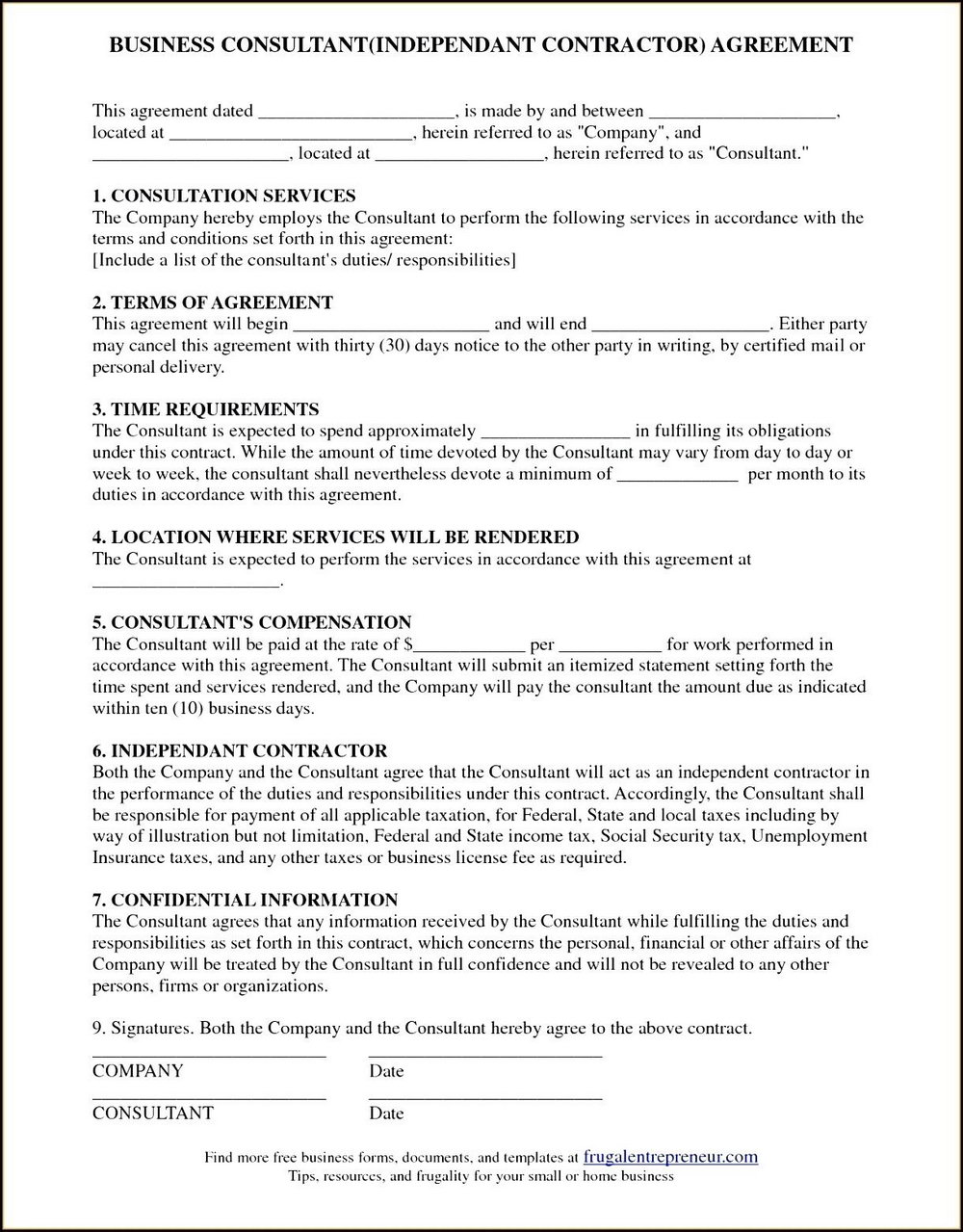 Consultant Contract Template Canada