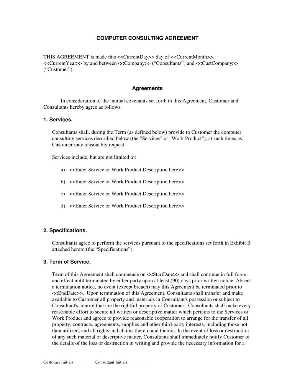 Consultant Contract Template