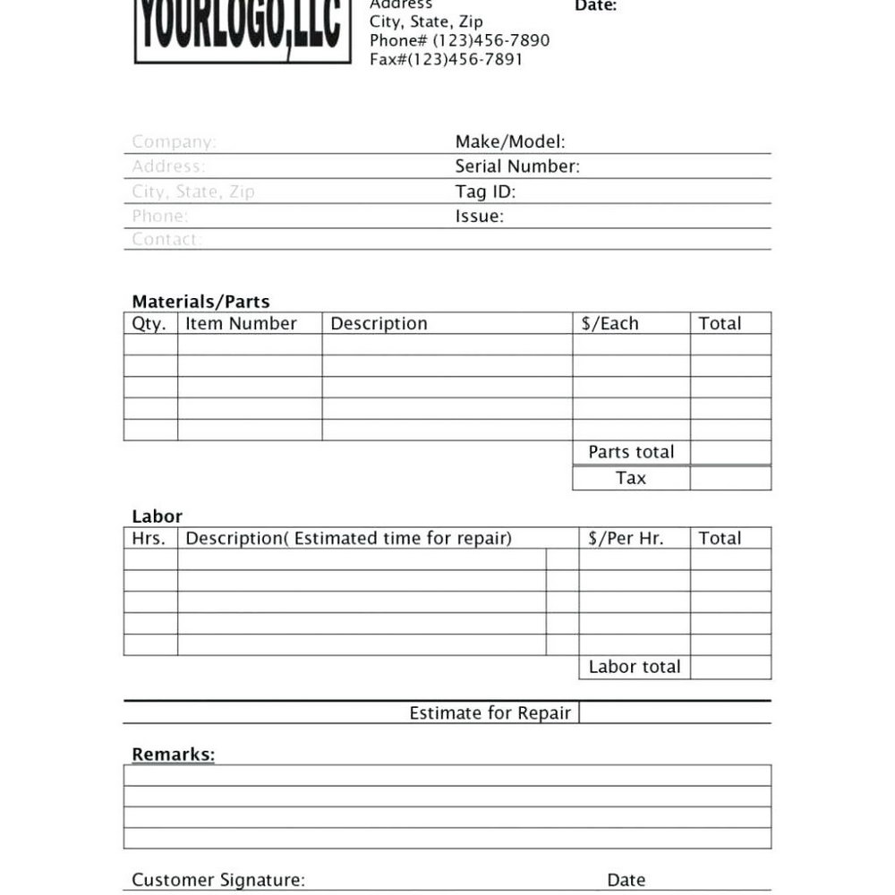Contractor Job Estimate Template