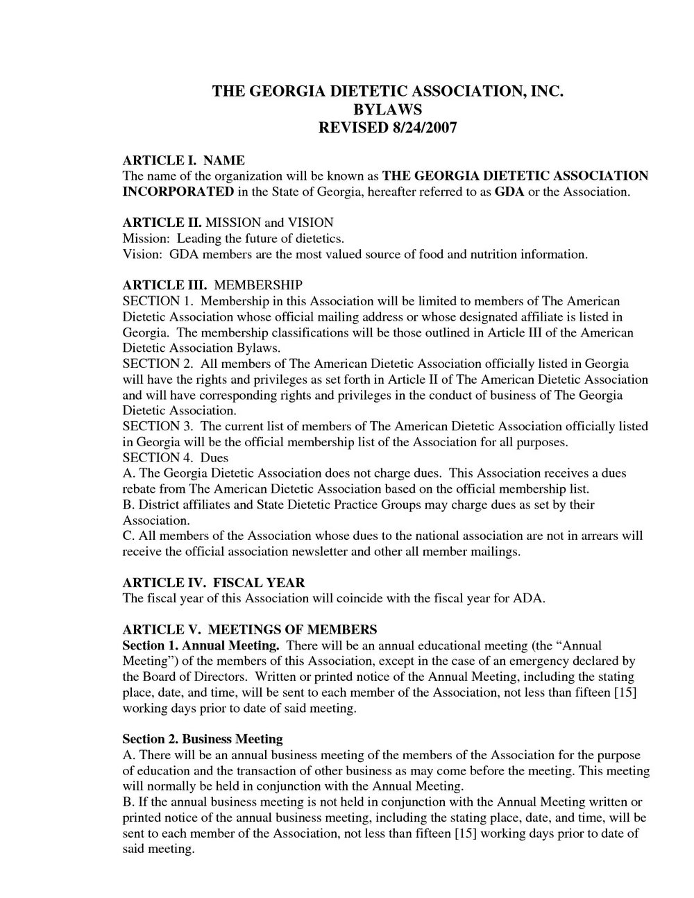 Corporate Bylaws Template Free Canada