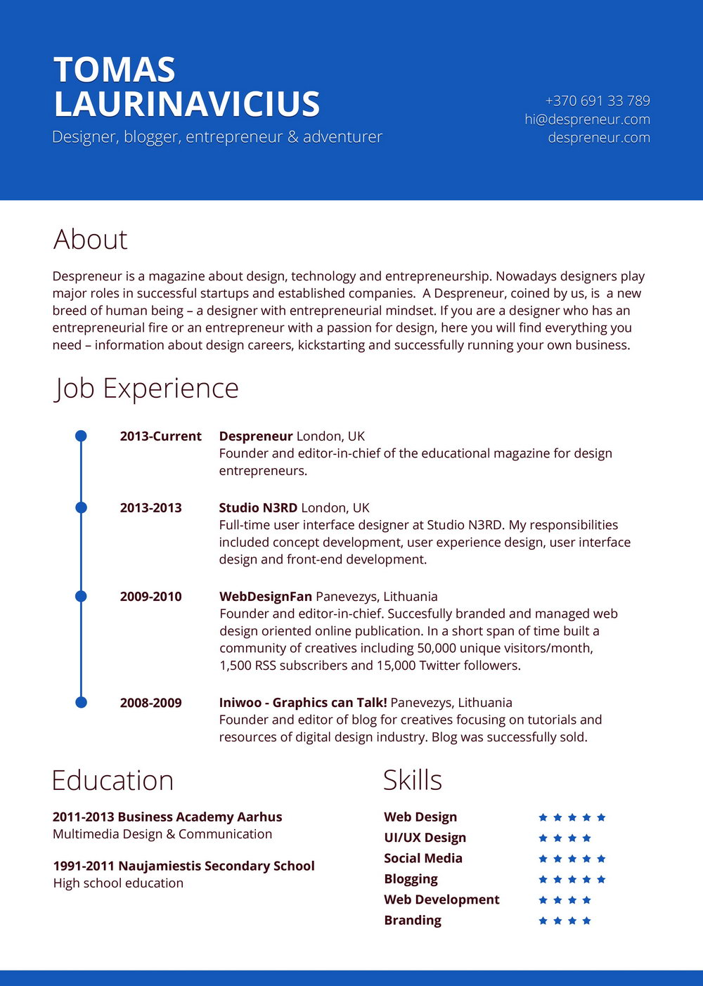 Creative Resume Templates Free Download Word