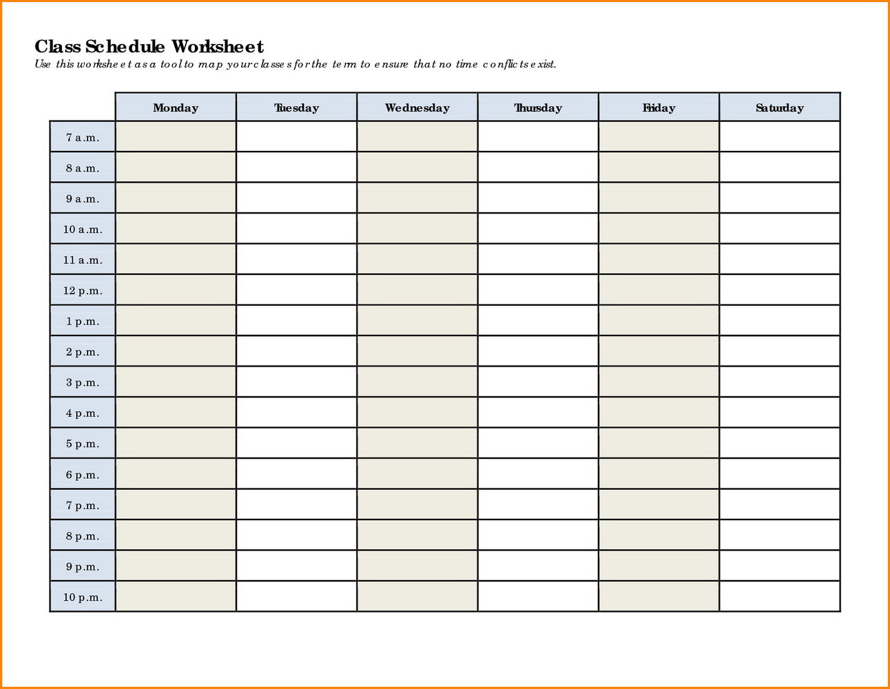 Daily Schedule Maker Template