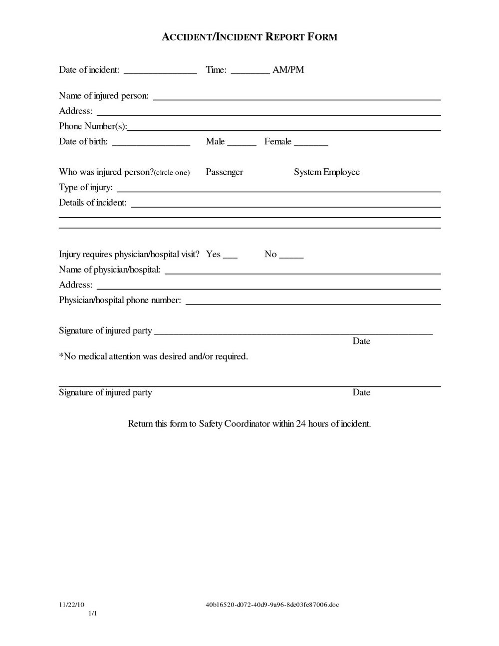 Damage Waiver Form Template