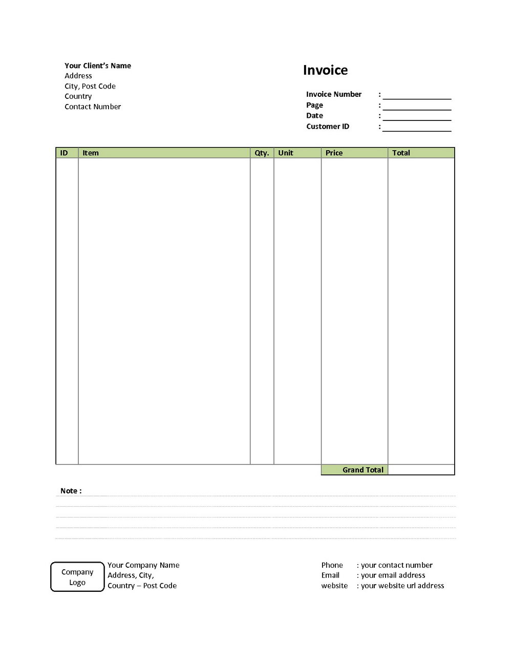 Downloadable Blank Invoice Template Pdf