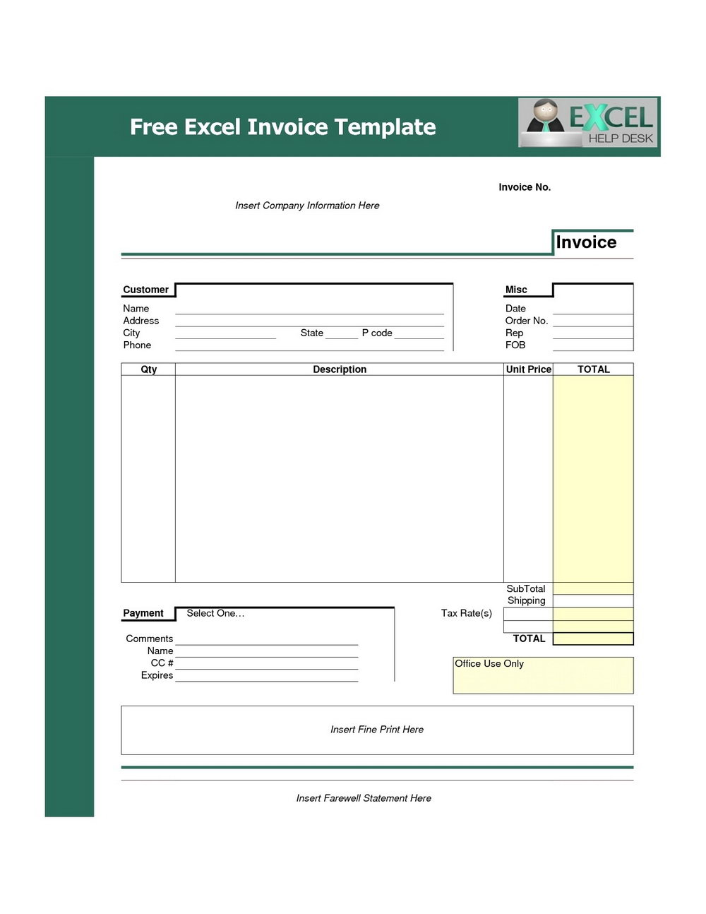 Downloadable Invoice Template Uk