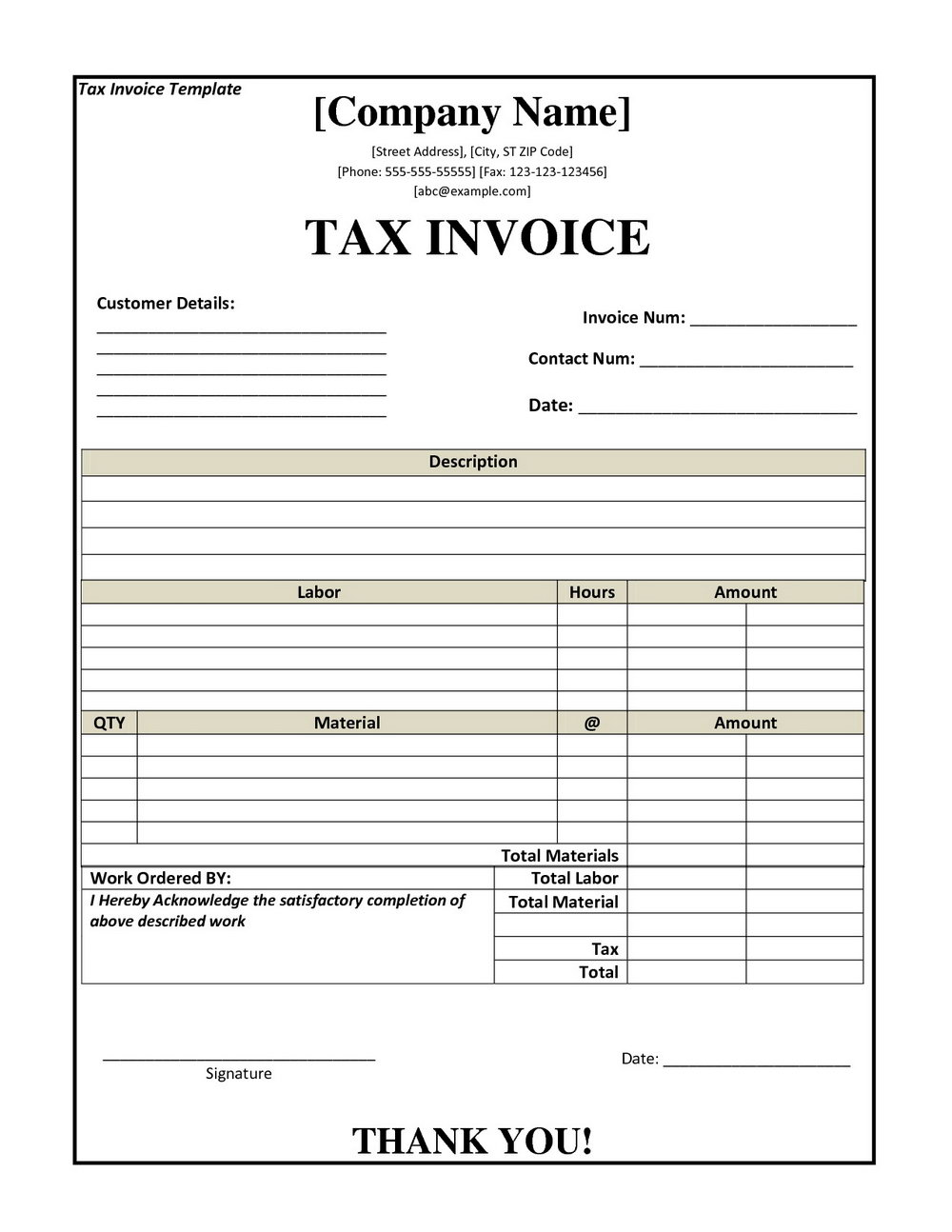 Editable Tax Invoice Template