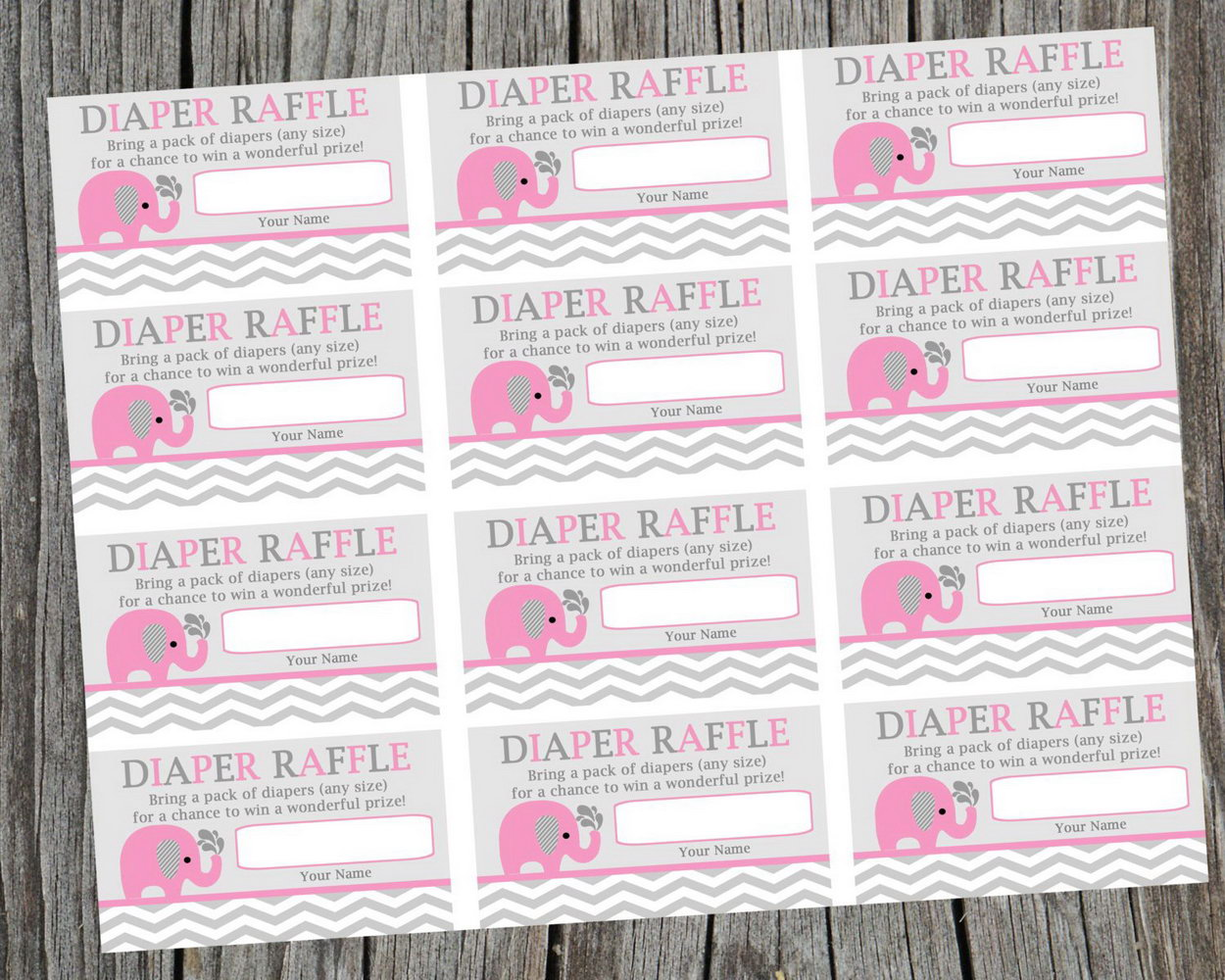 photo relating to Diaper Raffle Tickets Printable Free known as Absolutely free Printable Elephant Diaper Raffle Ticket Template