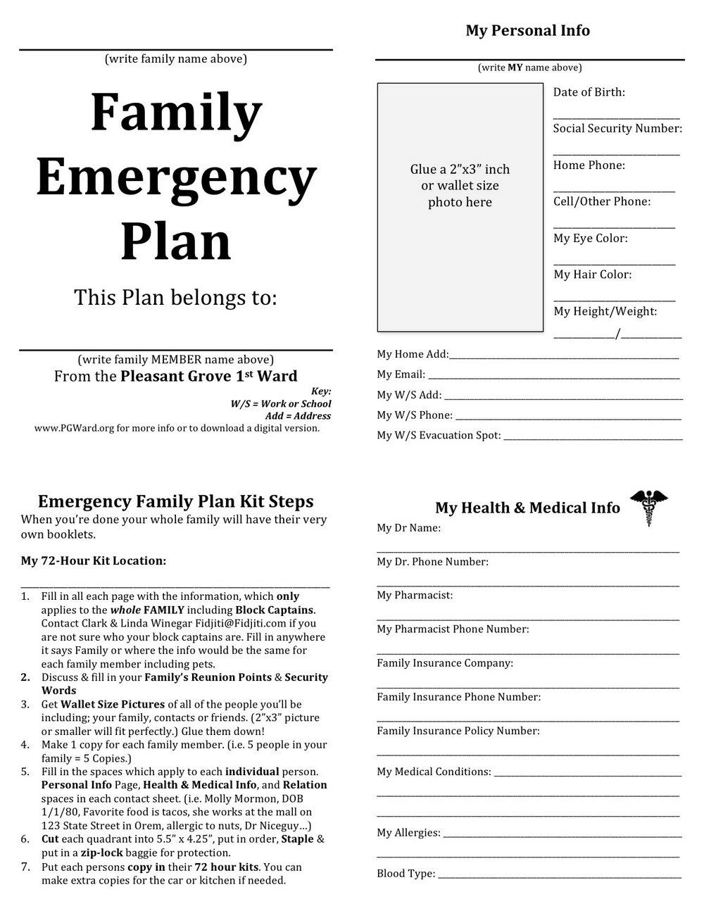 Emergency Preparedness Plan Template For Home