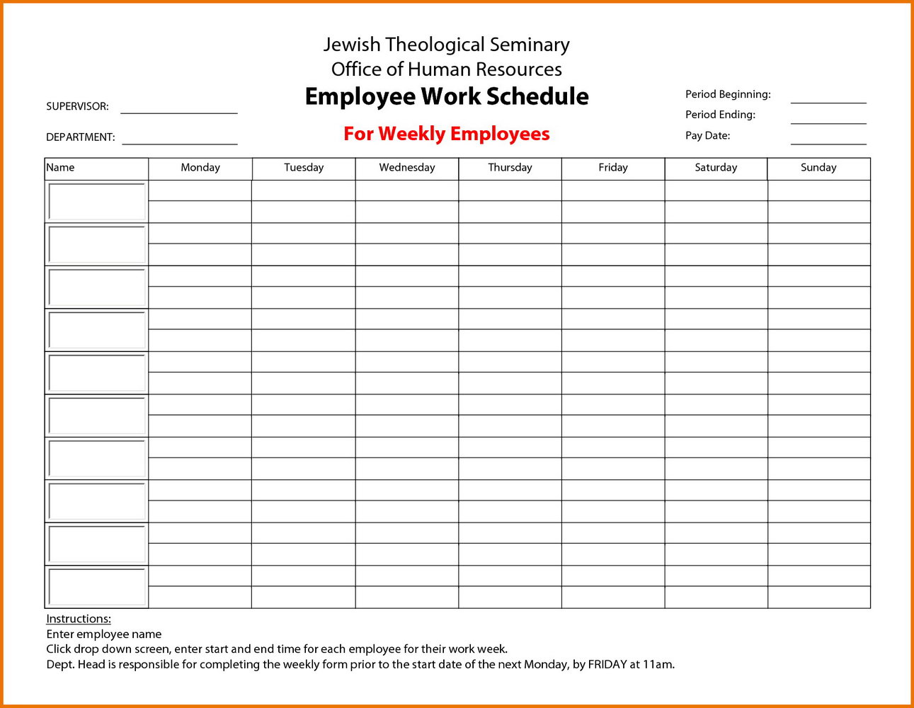 Employee Break Schedule Template Excel