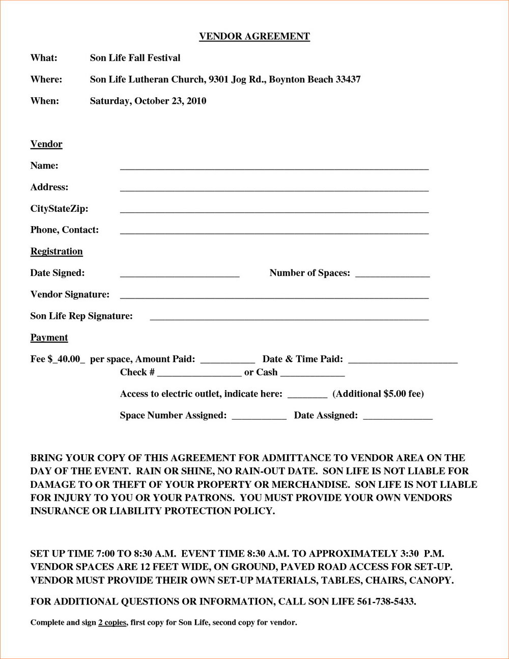 Event Vendor Agreement Template