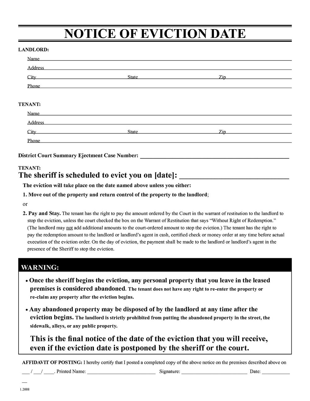Eviction Letter Template Ontario