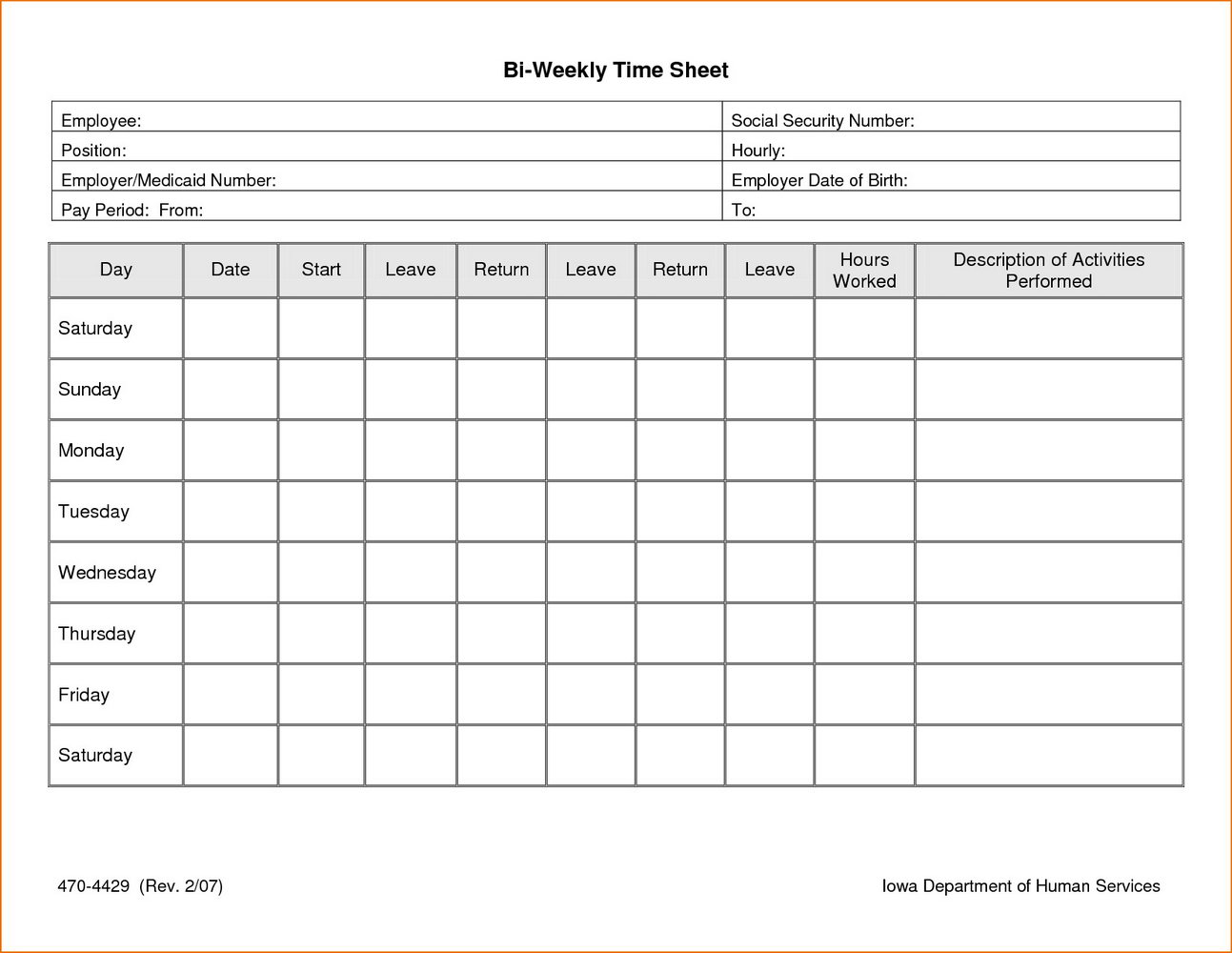 Excel Biweekly Timesheet Template With Formulas