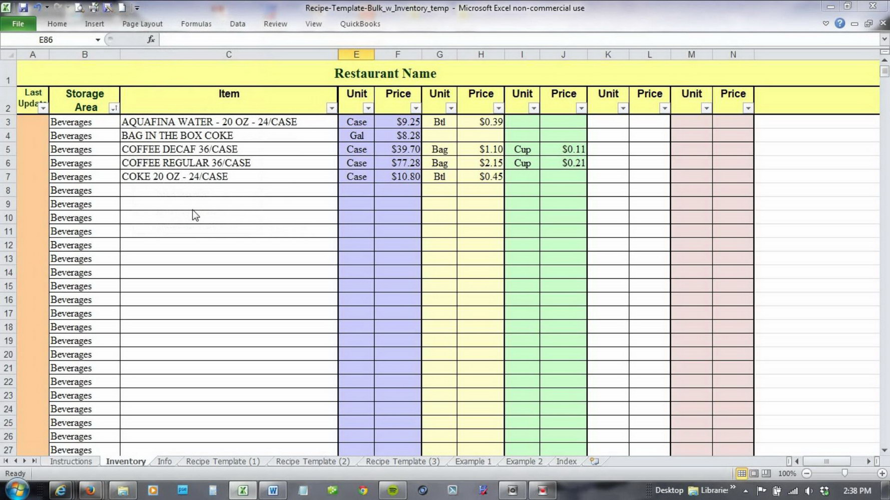 Excel Food Inventory Template