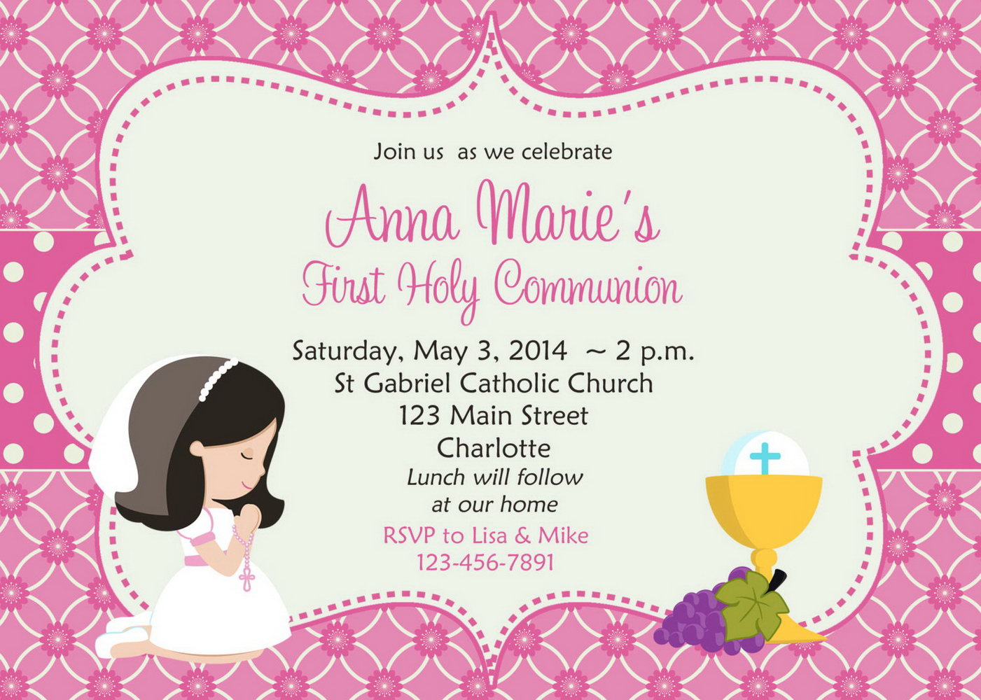 First Communion Invitation Templates Free