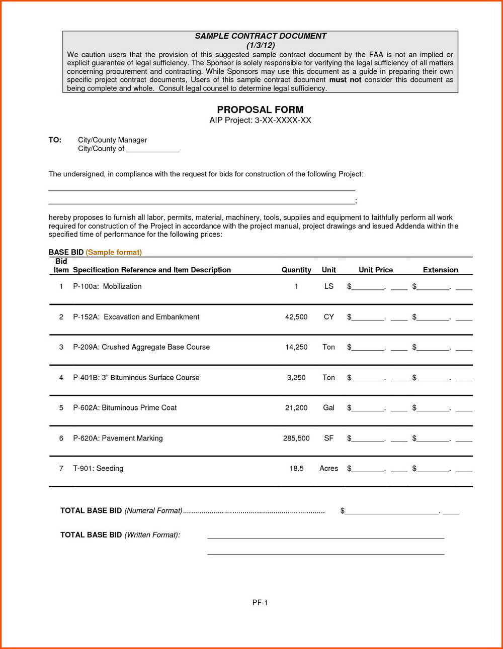 Free Construction Bid Proposal Template Download