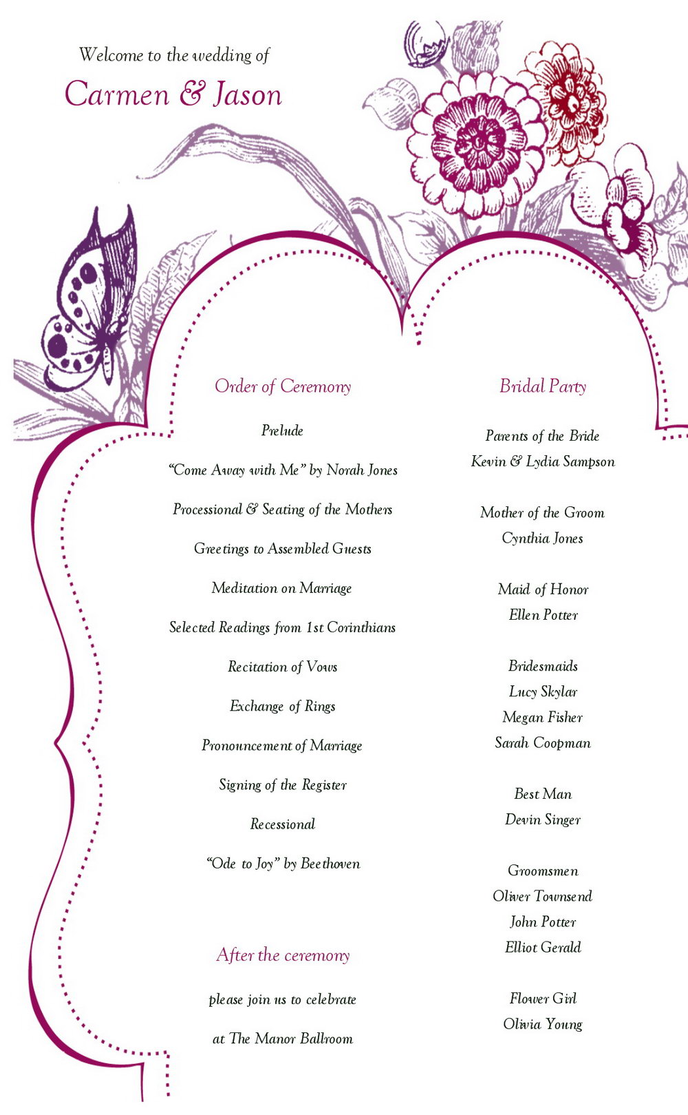 Free Downloadable Wedding Program Templates Microsoft Word
