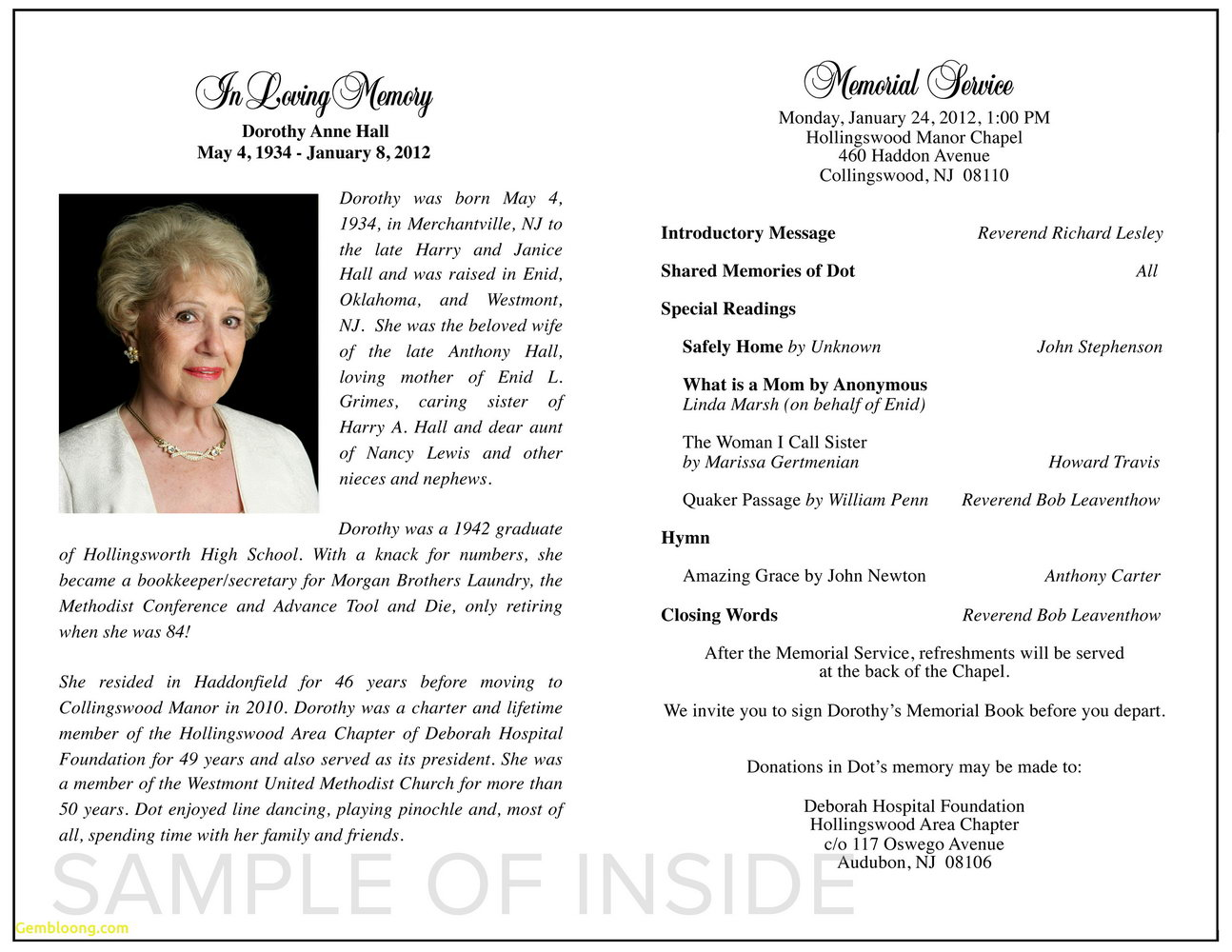 Free Funeral Program Template For Word