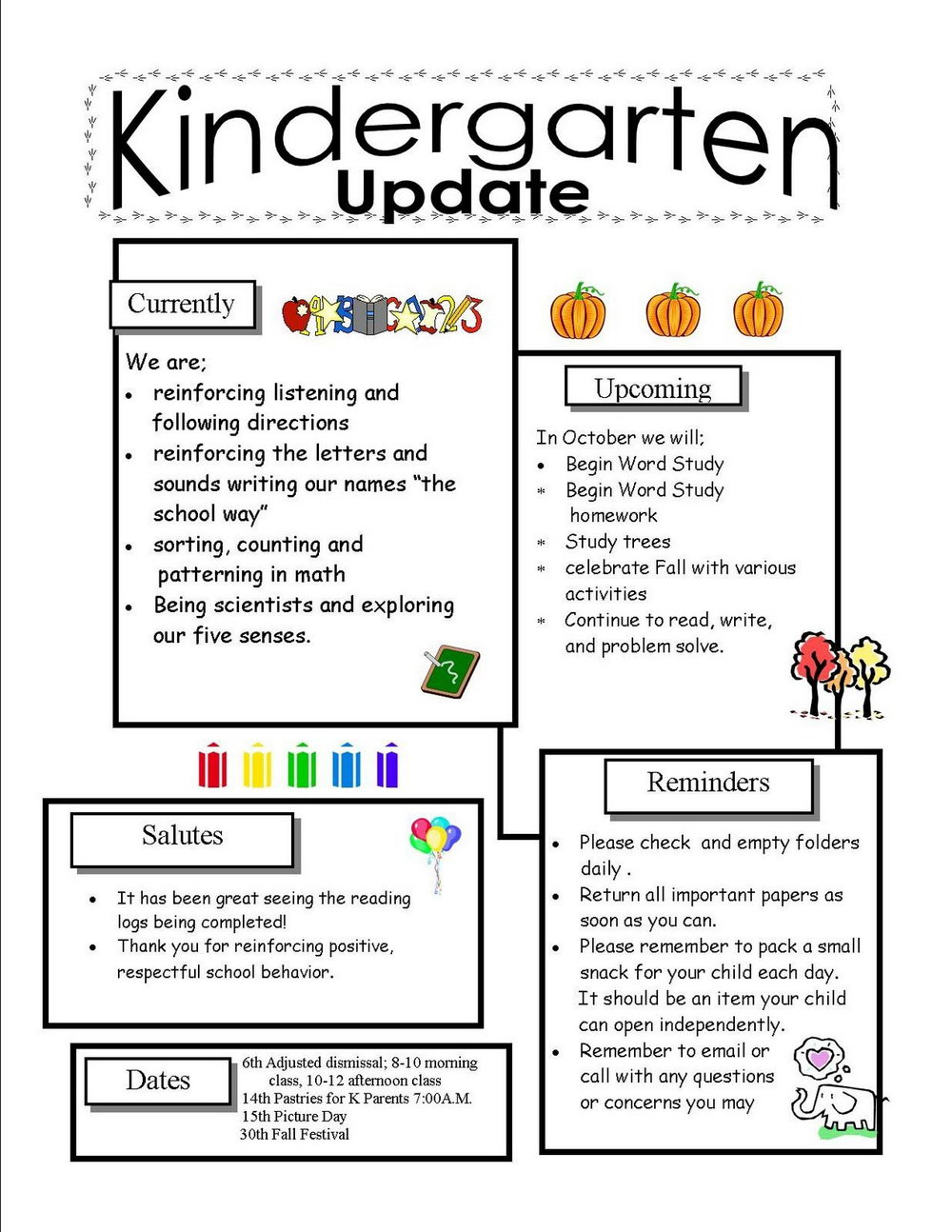 Free Kindergarten Newsletter Templates Word