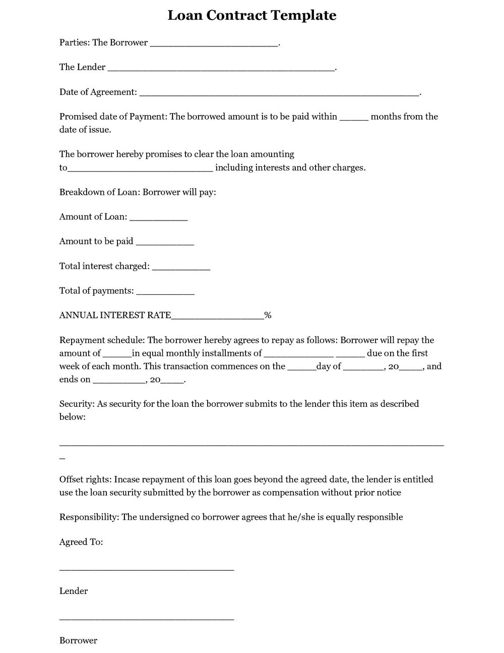Free Loan Agreement Template Pdf