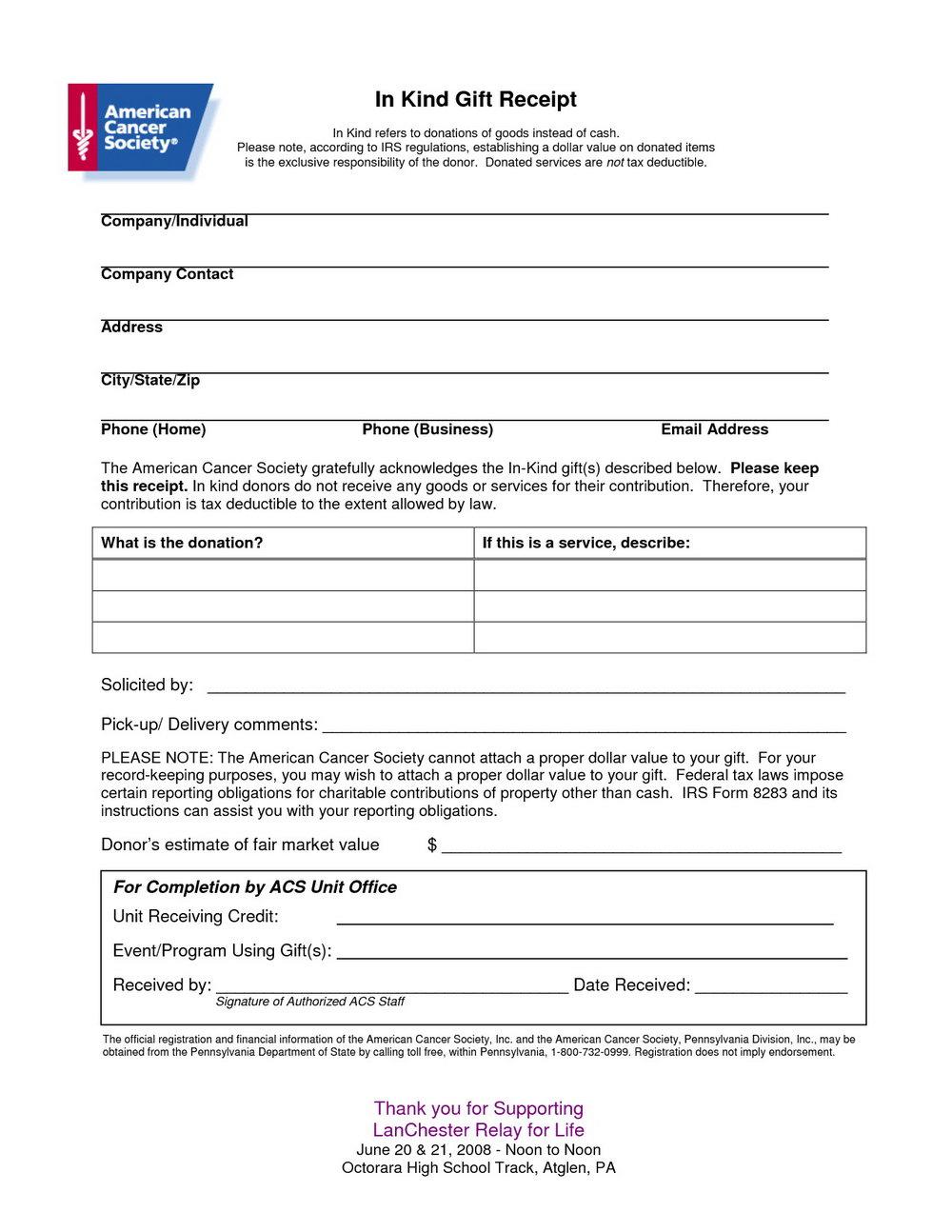 Free Non Profit Donation Receipt Template