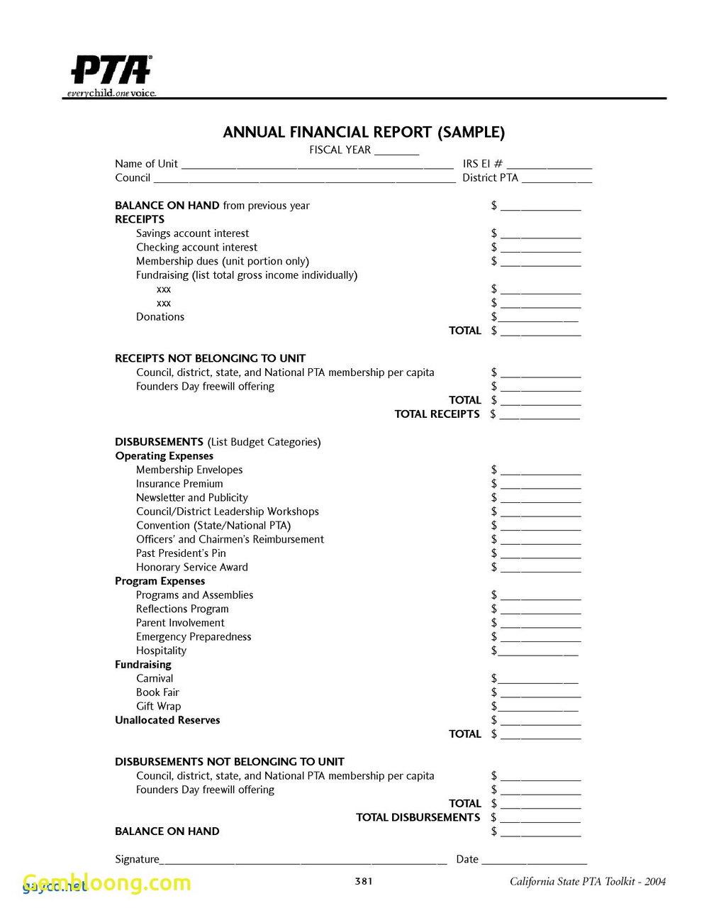 Free Non Profit Treasurer Report Template