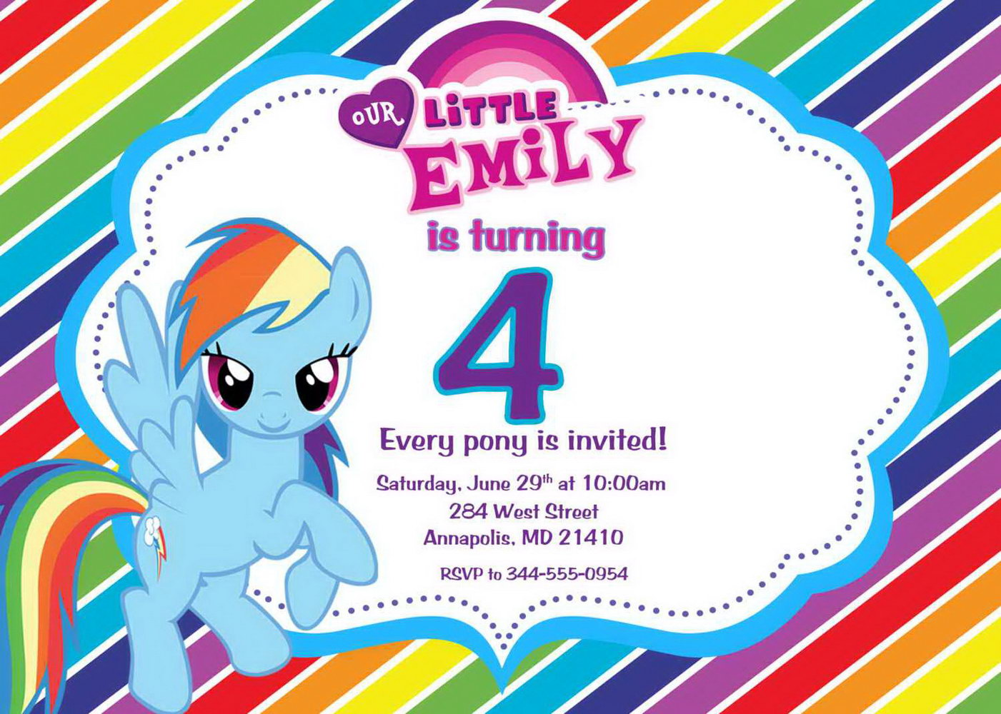 Free Party Invitation Templates My Little Pony