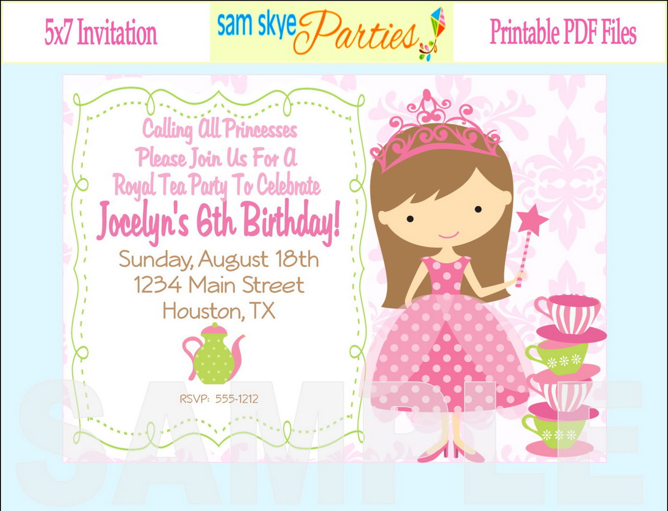 Free Princess Tea Party Invitation Template