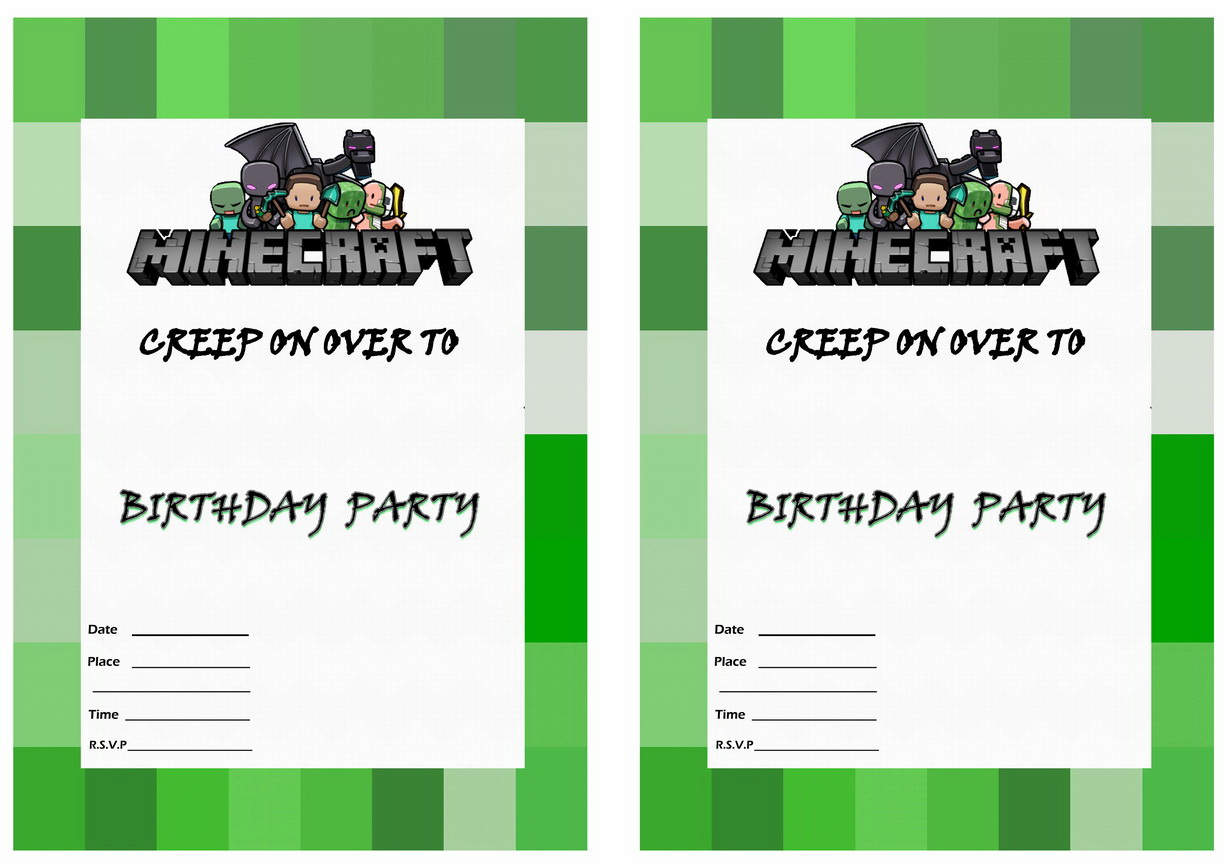 Free Printable Minecraft Invitation Template