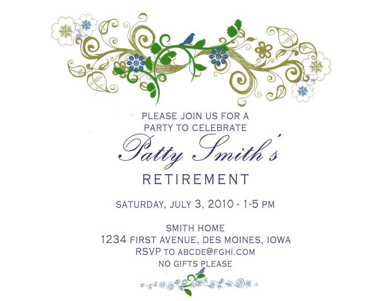 graphic about Free Printable Retirement Invitations identified as Printable Retirement Celebration Templates - Templates #125004