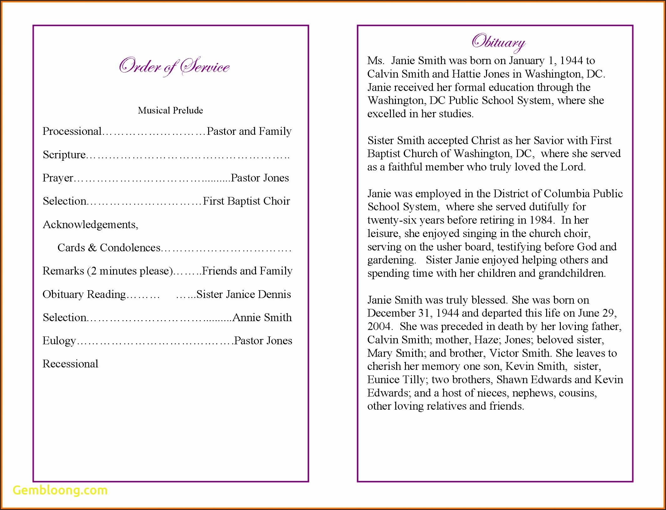 Funeral Service Announcement Template Free
