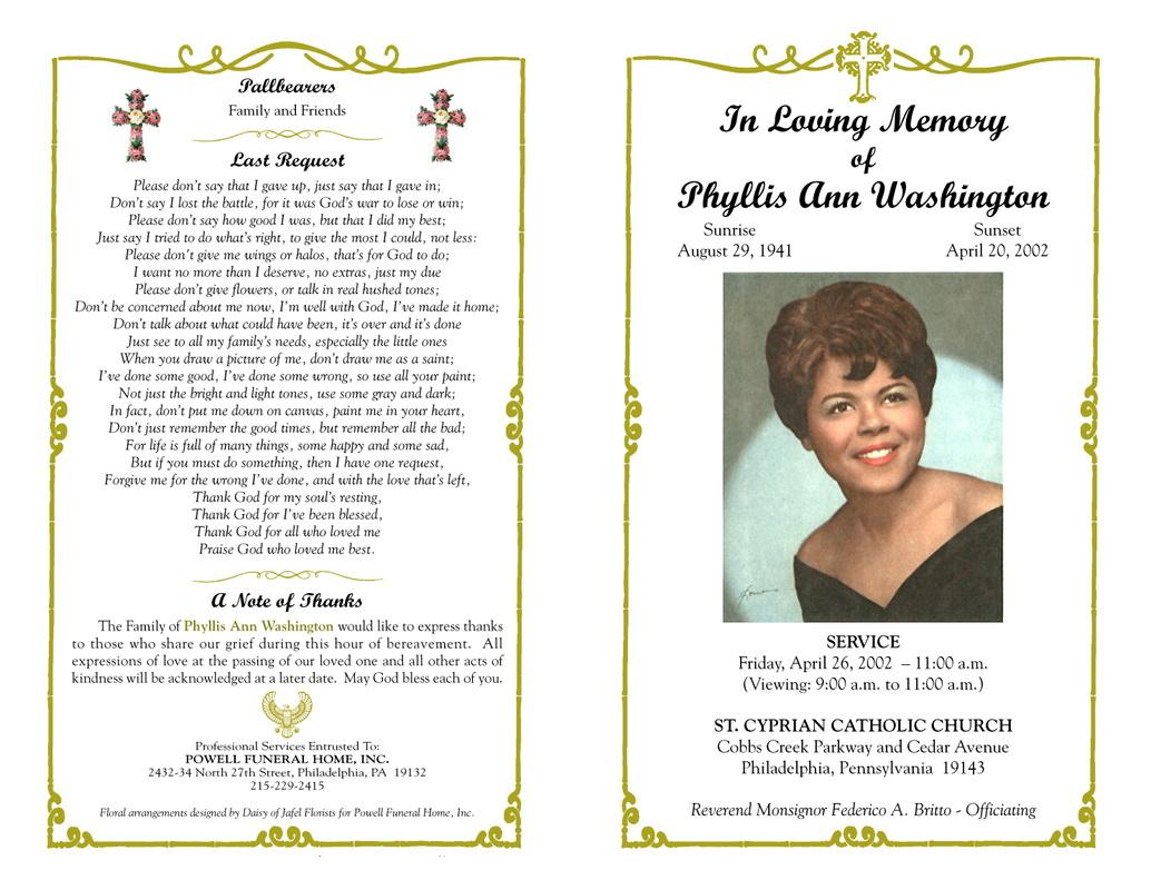Funeral Service Program Template Free