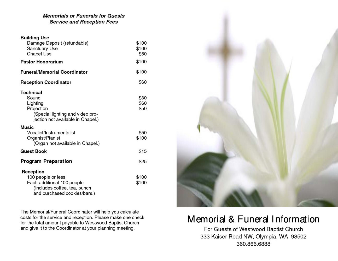 Funeral Service Program Template Word