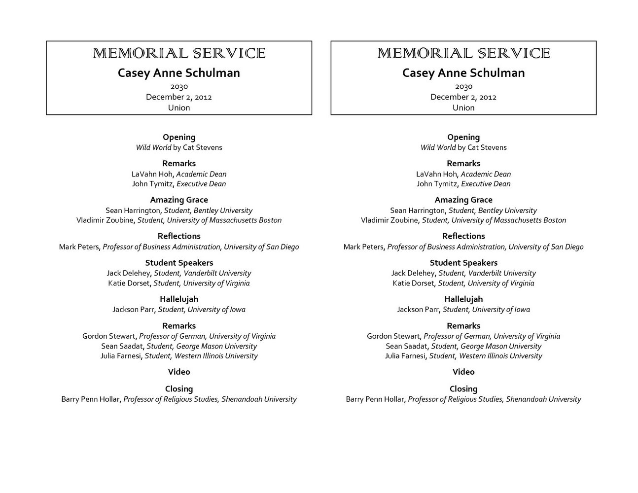 Funeral Service Program Templates