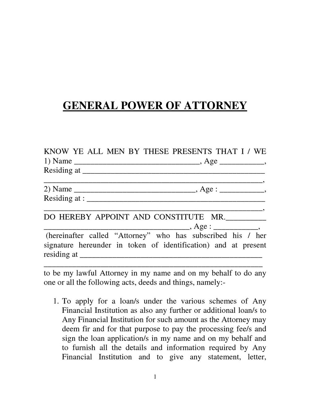 General Power Of Attorney Template South Africa