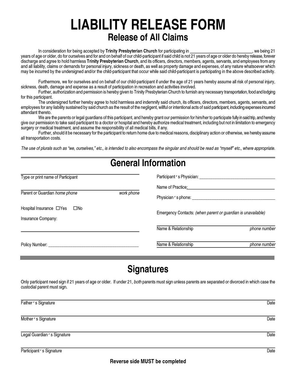 General Release Of Liability Form Template