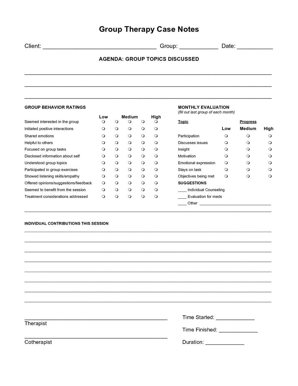 Group Therapy Progress Note Template