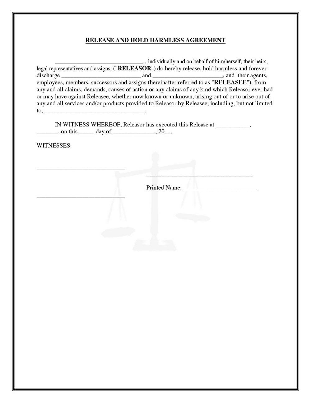 Hold Harmless Agreement Template Canada