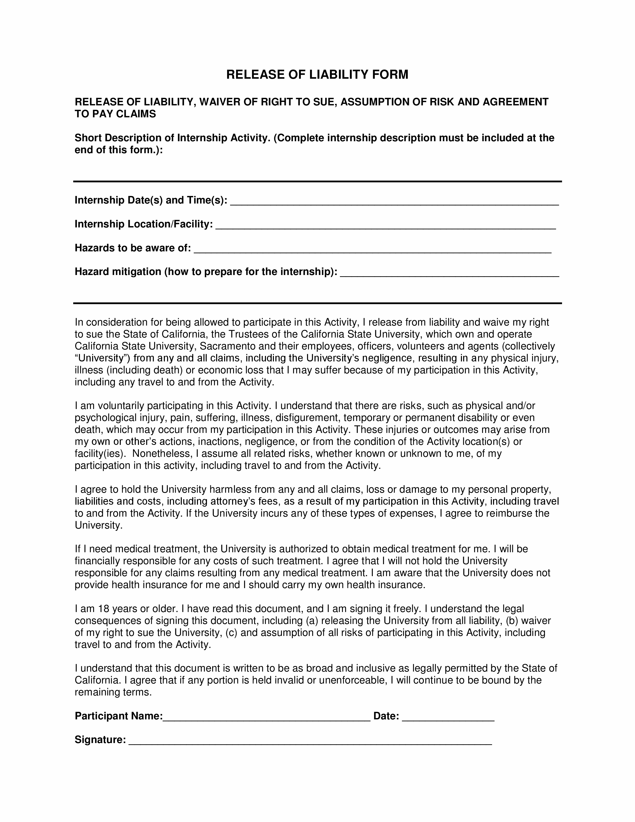 Hold Harmless Agreement Template Word