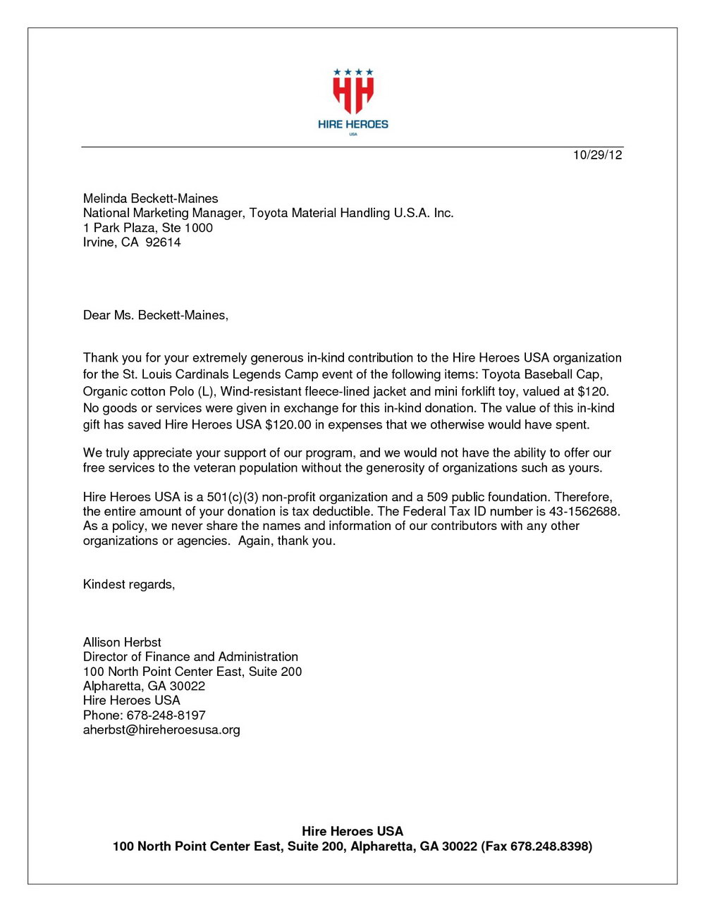 In Kind Donation Letter Template
