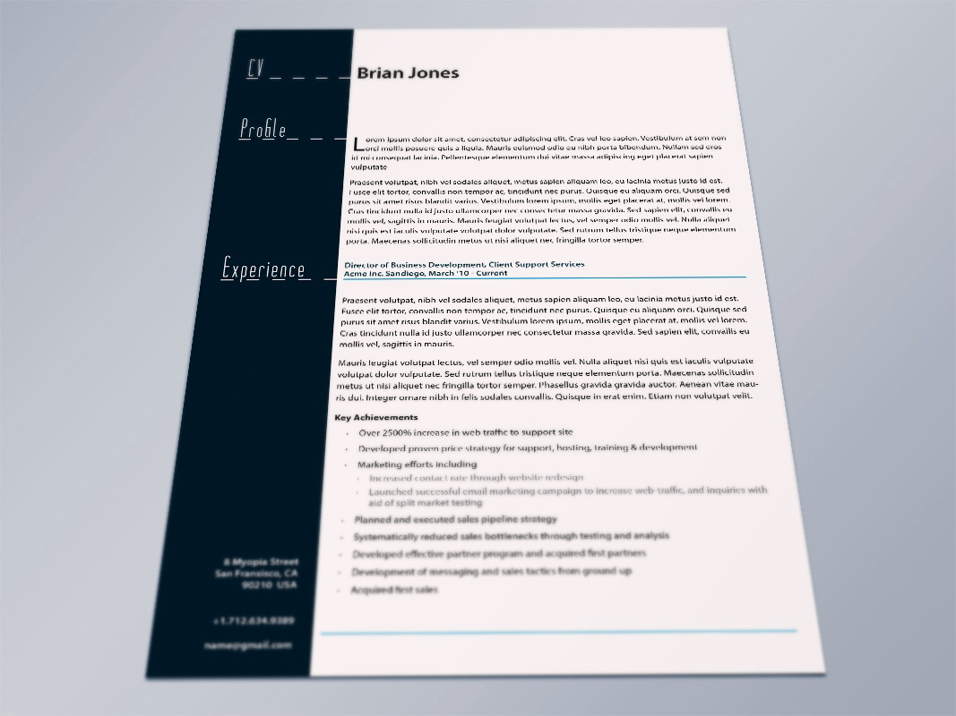 Indesign Resume Template Free Download