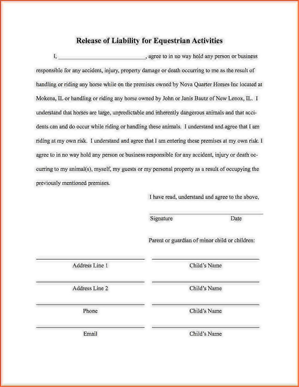Injury Liability Waiver Template