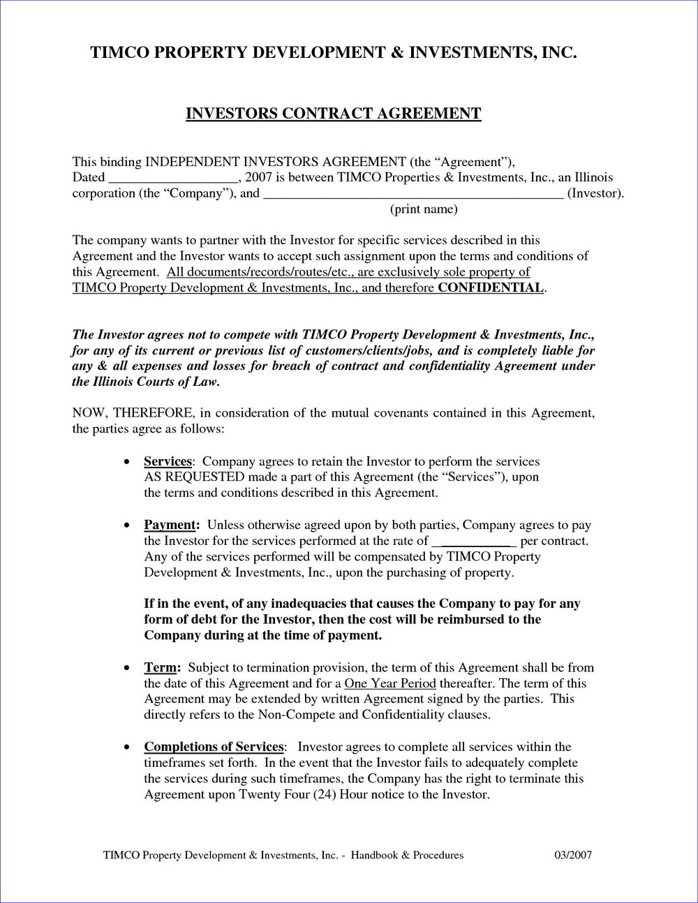 Investor Agreement Template Llc