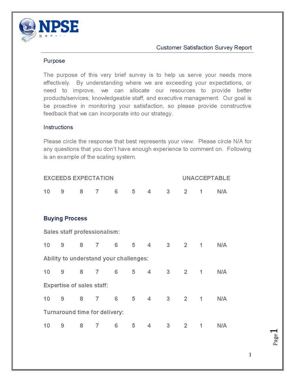 Iso 9001 Customer Satisfaction Survey Template