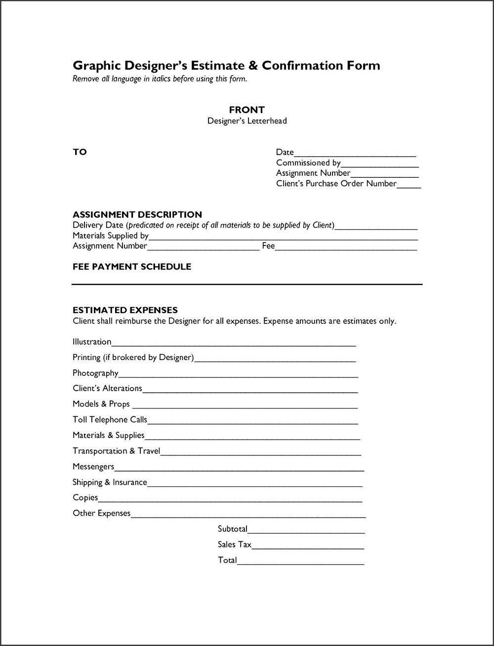Job Estimate Template Free