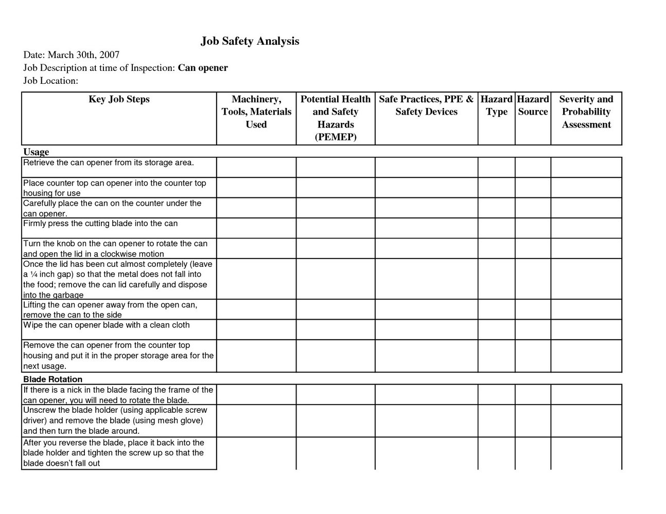 Job Safety Analysis Template Free