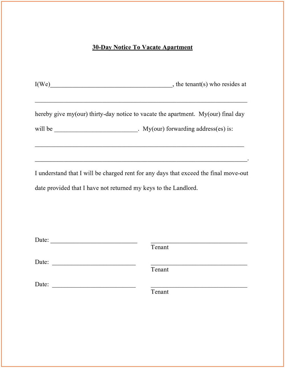 Landlord 30 Day Eviction Notice Template