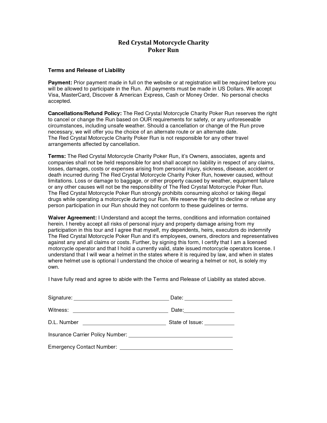 Letter Of Release Of Liability Template