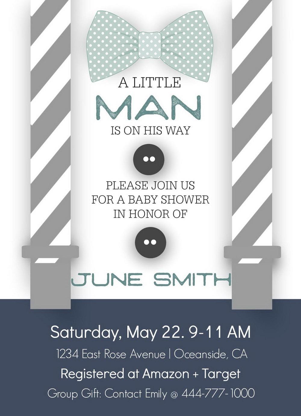 Little Man Baby Shower Invitation Templates Free
